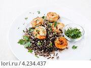 Купить «Черный рис с королевскими креветками», фото № 4234437, снято 26 января 2013 г. (c) Лисовская Наталья / Фотобанк Лори