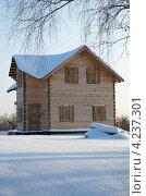 Купить «Строящийся деревянный дом из бруса», эксклюзивное фото № 4237301, снято 19 января 2013 г. (c) Елена Коромыслова / Фотобанк Лори