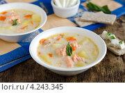 Купить «Сырный суп с семгой и овощами в белой миске на деревянном столе», фото № 4243345, снято 29 апреля 2010 г. (c) Татьяна Пинчук / Фотобанк Лори