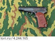 Купить «Пистолет на камуфлированном фоне», фото № 4244165, снято 26 мая 2020 г. (c) FotograFF / Фотобанк Лори