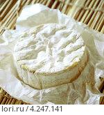 Купить «Круглый французский сыр камамбер в вощеной бумаге, целый», фото № 4247141, снято 22 июля 2019 г. (c) Food And Drink Photos / Фотобанк Лори