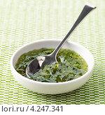 Купить «Желе из мяты, зеленый соус», фото № 4247341, снято 18 июля 2018 г. (c) Food And Drink Photos / Фотобанк Лори