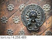 Купить «Дверной молоток на старой двери», фото № 4258489, снято 7 октября 2012 г. (c) Игорь Соколов / Фотобанк Лори