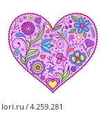 Декоративное сердце с цветами. Стоковая иллюстрация, иллюстратор kiyanochka / Фотобанк Лори