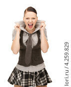 Купить «Девочка-подросток кричит на белом фоне», фото № 4259829, снято 2 октября 2010 г. (c) Syda Productions / Фотобанк Лори