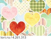 Купить «Фон ко Дню святого Валентина с разноцветными сердечками», иллюстрация № 4261313 (c) Лукиянова Наталья / Фотобанк Лори