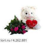 Купить «Плюшевый мишка с красным сердцем и букетом роз», фото № 4262881, снято 27 января 2013 г. (c) Елена Силкова / Фотобанк Лори