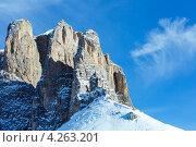 Доломитовые Альпы зимой (Sella Pass), Италия (2012 год). Стоковое фото, фотограф Юрий Брыкайло / Фотобанк Лори