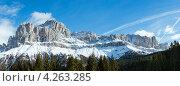 Купить «Горный пейзаж. Большая Доломитовая Дорога, Южный Тироль, Италия», фото № 4263285, снято 24 июня 2019 г. (c) Юрий Брыкайло / Фотобанк Лори