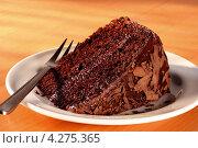 Купить «Тарелка с кусочком шоколадного торта», фото № 4275365, снято 19 марта 2019 г. (c) Food And Drink Photos / Фотобанк Лори
