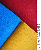 Купить «Текстура из льняной ткани ярких цветов», эксклюзивное фото № 4279485, снято 11 февраля 2013 г. (c) Ната Антонова / Фотобанк Лори