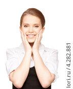 Купить «Привлекательная деловая молодая женщина на белом фоне», фото № 4282881, снято 30 мая 2010 г. (c) Syda Productions / Фотобанк Лори