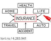Купить «Схема видов страхования», фото № 4283941, снято 25 февраля 2020 г. (c) Ивелин Радков / Фотобанк Лори