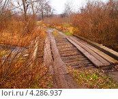 Старый мост через маленькую речку. Стоковое фото, фотограф Цыганков Григорий Николаевич / Фотобанк Лори