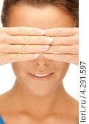 Купить «Красивая женщина закрывает руками глаза», фото № 4291597, снято 12 марта 2011 г. (c) Syda Productions / Фотобанк Лори