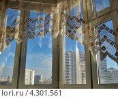Современное пластиковое окно и занавесочка. Стоковое фото, фотограф Самойлова Екатерина / Фотобанк Лори