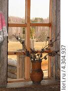 Купить «Кувшин с засохшими цветами на окне деревенского дома», эксклюзивное фото № 4304937, снято 23 апреля 2008 г. (c) Старостин Сергей / Фотобанк Лори