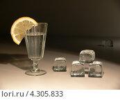 Натюрморт с рюмкой, долькой лимона и кубиками льда на тёмном фоне. Стоковое фото, фотограф Елена Алексеева / Фотобанк Лори
