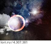 Купить «Планеты и астероиды в космосе в свете звезд», иллюстрация № 4307381 (c) Sergey Nivens / Фотобанк Лори