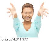 Купить «Счастливая девушка радуется на белом фоне», фото № 4311977, снято 28 августа 2011 г. (c) Syda Productions / Фотобанк Лори