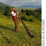 Купить «Мужчина играет на трембите на зеленом горном склоне», фото № 4313693, снято 31 мая 2009 г. (c) Эдуард Кислинский / Фотобанк Лори
