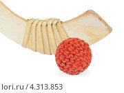 Купить «Клюшка и плетеный хоккейный мяч», фото № 4313853, снято 17 февраля 2013 г. (c) Дмитрий Грушин / Фотобанк Лори