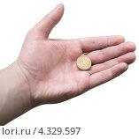 Купить «Десятирублевая монета в мужской ладони», фото № 4329597, снято 25 февраля 2013 г. (c) Иван Карпов / Фотобанк Лори