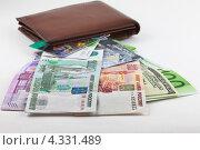 Купюры и кредитные карточки сходятся в портмоне. Стоковое фото, фотограф Николай Овечко / Фотобанк Лори