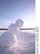 Веселый снеговик. Стоковое фото, фотограф Дмитрий Кочерыгин / Фотобанк Лори