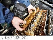 Купить «Ремонт автомобильного двигателя», фото № 4334361, снято 19 января 2012 г. (c) Дмитрий Калиновский / Фотобанк Лори