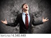 Купить «Злой начальник на фоне с трещинами громко кричит в ярости», фото № 4340449, снято 27 ноября 2012 г. (c) Sergey Nivens / Фотобанк Лори