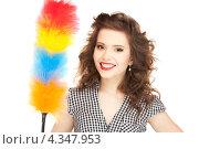 Купить «Очаровательная домохозяйка с метелкой для пыли», фото № 4347953, снято 3 января 2010 г. (c) Syda Productions / Фотобанк Лори