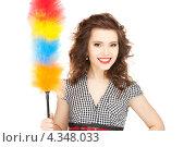 Купить «Очаровательная домохозяйка с метелкой для пыли», фото № 4348033, снято 3 января 2010 г. (c) Syda Productions / Фотобанк Лори