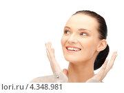Купить «Счастливая девушка смеется от радости на белом фоне», фото № 4348981, снято 22 октября 2011 г. (c) Syda Productions / Фотобанк Лори