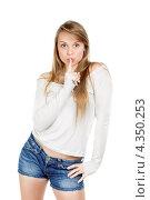 Купить «Девушка показывает жестом тише», фото № 4350253, снято 28 февраля 2012 г. (c) Сергей Сухоруков / Фотобанк Лори