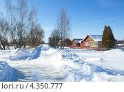 Купить «Сельский зимний пейзаж», эксклюзивное фото № 4350777, снято 24 февраля 2013 г. (c) Елена Коромыслова / Фотобанк Лори