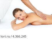 Купить «Улыбающаяся девушка лежит топлесс на животе на сеансе массажа», фото № 4366245, снято 23 октября 2009 г. (c) Wavebreak Media / Фотобанк Лори