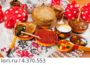 Купить «Русские блины на масленицу», фото № 4370553, снято 6 марта 2011 г. (c) Яков Филимонов / Фотобанк Лори