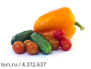 Болгарский перец, помидоры и огурцы на белом фоне. Стоковое фото, фотограф Михаил Балберов / Фотобанк Лори