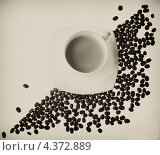 Чашка кофе и кофейные зерна. Стоковое фото, фотограф Александра Ткачук / Фотобанк Лори