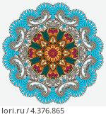 Купить «Яркий цветочный круглый орнамент-розетка», иллюстрация № 4376865 (c) Олеся Каракоця / Фотобанк Лори