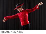 Купить «Мужчина танцует испанский танец в студии», фото № 4377589, снято 9 декабря 2012 г. (c) Elnur / Фотобанк Лори