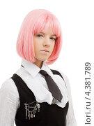 Купить «Девушка-подросток с розовыми волосами в школьной форме», фото № 4381789, снято 12 мая 2007 г. (c) Syda Productions / Фотобанк Лори