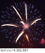 Купить «Красивый фейерверк в ночном небе», фото № 4382881, снято 7 августа 2011 г. (c) Юлия Машкова / Фотобанк Лори