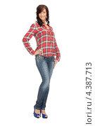 Купить «Привлекательная девушка в клетчатой рубашке», фото № 4387713, снято 16 октября 2011 г. (c) Syda Productions / Фотобанк Лори