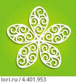 Купить «Бумажный цветок на зеленом фоне», иллюстрация № 4401953 (c) Евгения Малахова / Фотобанк Лори