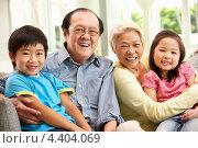 Купить «Пожилые китайцы сидят на диване с внуком и внучкой», фото № 4404069, снято 4 апреля 2012 г. (c) Monkey Business Images / Фотобанк Лори