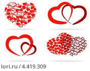 Купить «Набор красных стилизованных сердечек, белый фон», иллюстрация № 4419309 (c) Родак Мария / Фотобанк Лори
