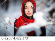 Портрет черноволосой девушки в зимней парке. Стоковое фото, фотограф Алексей Калашников / Фотобанк Лори