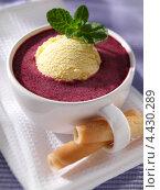 Купить «Скандинавский ягодный суп с мороженым и мятой», фото № 4430289, снято 15 июля 2020 г. (c) Food And Drink Photos / Фотобанк Лори